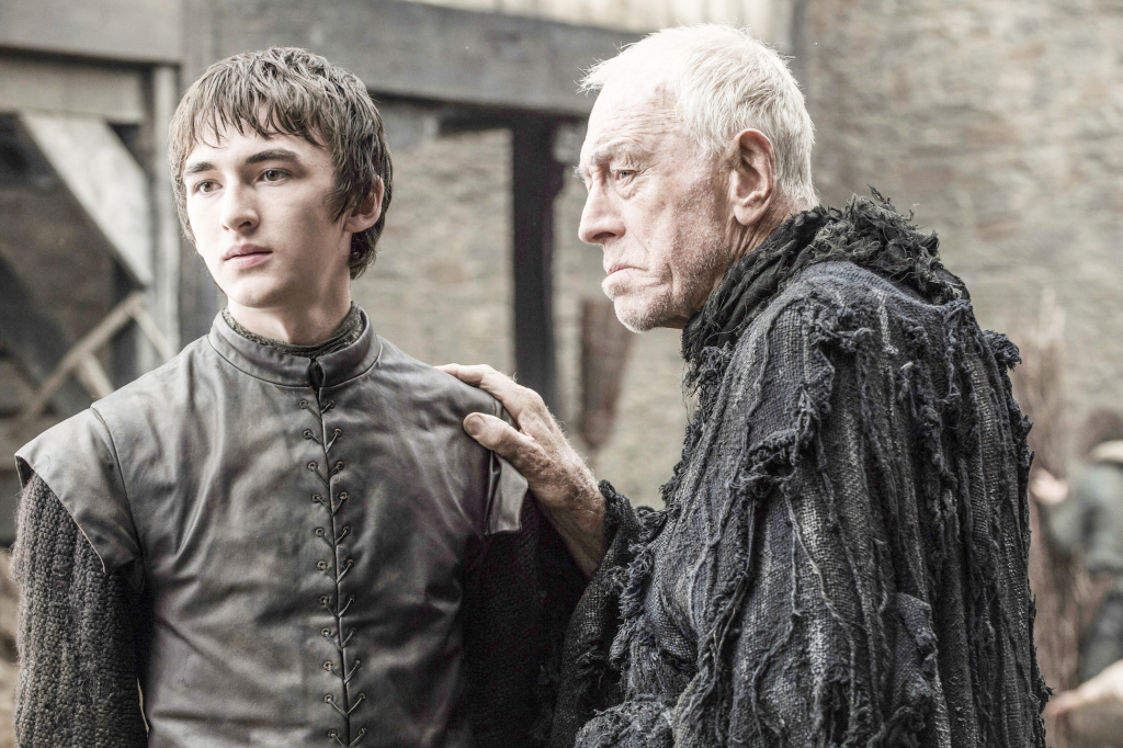 Isaac Hempstead Wright as Bran Stark and Max von Sydow as the Three-Eyed Raven – photo Helen Sloan/HBO