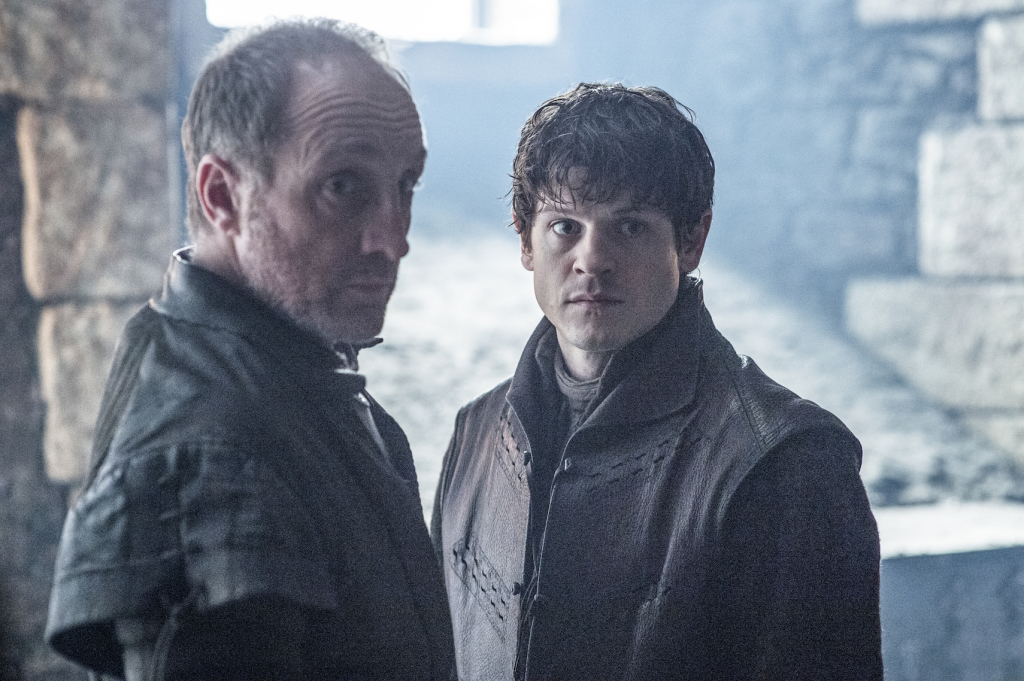 Michael McElhatton as Roose Bolton and Iwan Rheon as Ramsay Bolton– photo Helen Sloan/HBO