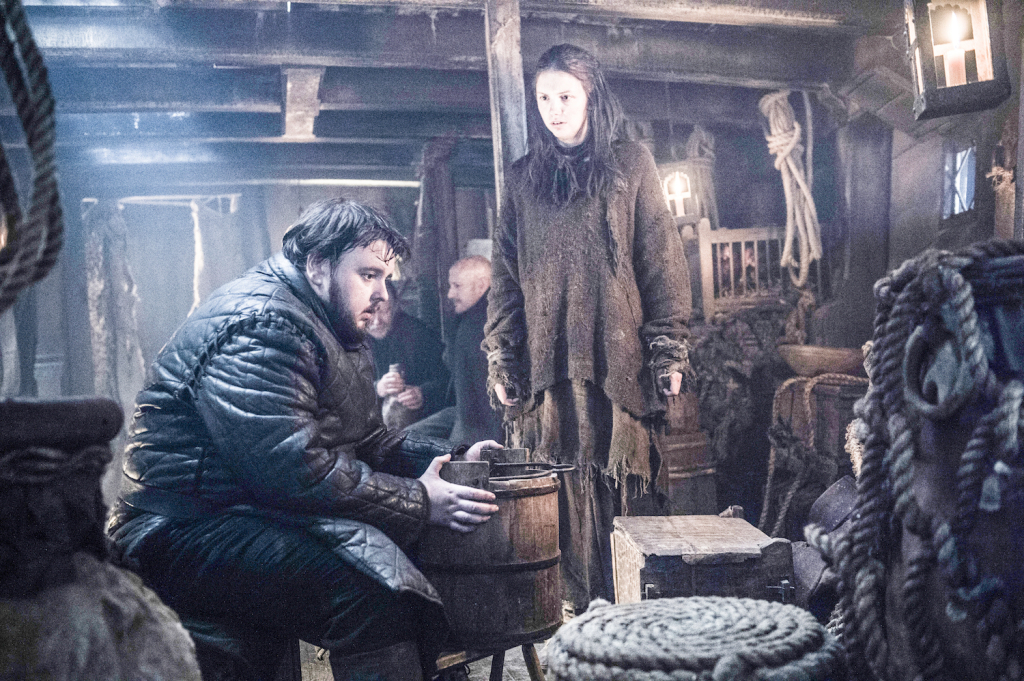John Bradley as Samwell Tarly and Hannah Murray as Gilly – photo Helen Sloan /HBO